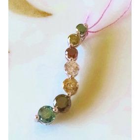 Dije De 7 Diamantes De Colores 1ct En Oro Blanco De 10k