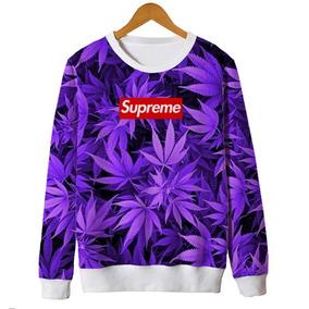 Blusa Moletom Roupa Feminino Supreme Fumaça Street Swag Thug · Blusa Moletom  Barato Feminina Supreme Weed Ganja 4i20 Trap af6b1fbf319