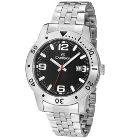 Relógio Champion Masculino Aço Prata Visor Preto Ca31391t