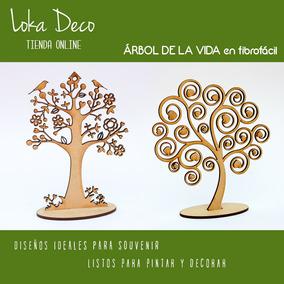 Arbol De La Vida Con Base Souvenir 15cm Alto Fibrofacil 3mm