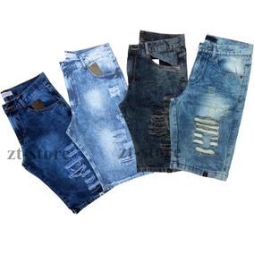 Kit 3 Bermudas Jeans Desfiada Rasgada Estilosas Destroyed