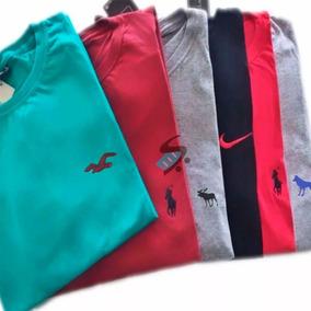 Kit 10 Camiseta Camisa Masculina Marca Logo Bordado Promoção