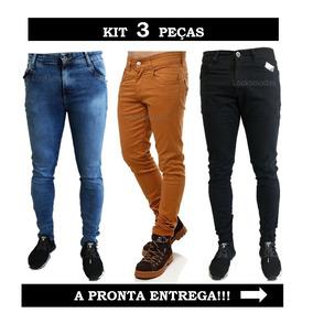 Kit 3 Calça Jeans Sarja Masculina Slim Skinny C/ Lycra