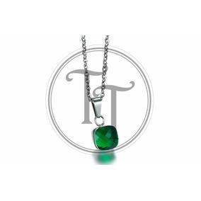 Collar Nudo Swarovski Verde En Titanio 18k