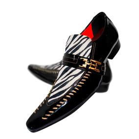 0347f9c88 Sapato Masculino Em Couro Preto Com Zebra Cod. 745