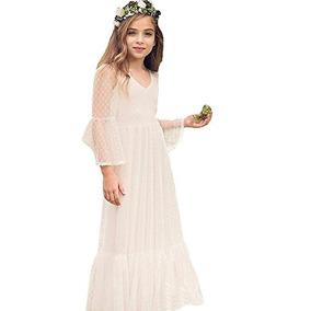 Vestidos Para La Primera Comunión, De Encaje, Con Flores,