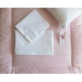 Sábana+cobertor+almohada Colecho 85x50 Flores/broderie