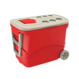 Caixa Térmica 50 Litros Com Rodas E 2 Alças Vermelha Soprano