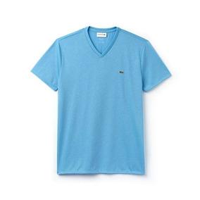 062bdc50752fb Camiseta Lacoste Gola V - Camisetas e Blusas Manga Curta no Mercado ...