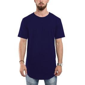 b610ccec1b2e7 Camiseta Swag Longline Camisa Masculina Azul Longsize