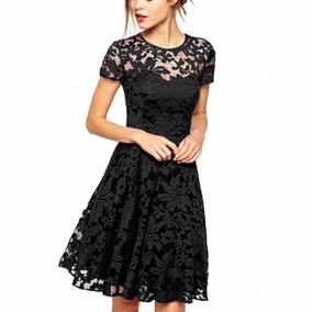 Vestido Mujer Noche Elegante Talla 11 Negro Rodilla Encaje