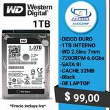 Disco Duro Wd 1tb 7200rpm 32mb Sata 6.0gbs 2.5 Laptop Black