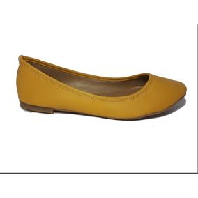 Flats Amarillo Mostaza Para Dama Zapato De Piso Comodo