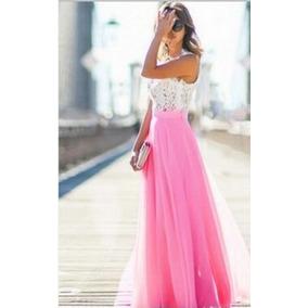 Vestido Noche Largo Boda Fiesta Rosa Moda Vaporoso