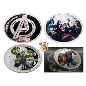 Lote C 3 Moedas Comemorativas Hulk, Avengers Capitão América