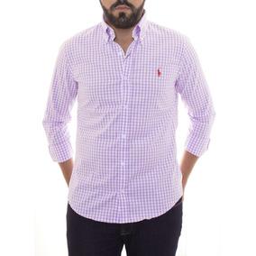 Camisa Social Ralph Lauren Custom Fit Quadriculada Lilás