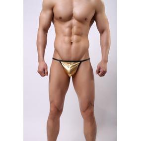 Tanga Dorada Hilo G-string Negro Sexy Gogo Boy Gay Buga Oro