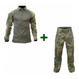 Farda Tática Combat Shirt +calça Camuflada Atacs Fg Airsoft