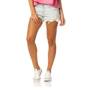Shorts Jeans Feminino Soltinho Com Puídos Sobreposto-sp6140