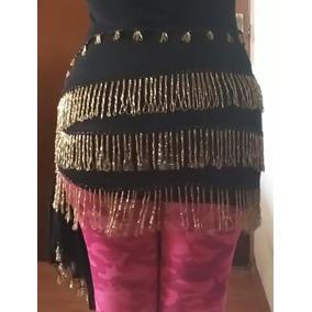 Fajilla Bellydance Negro Dorado Danza Árabe Vestuario