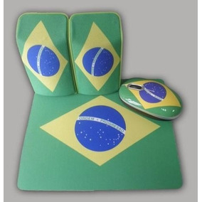 Kit Mouse Usb Com Pad Mouse Caixa De Som Motivo Brasil Kolke