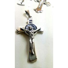 af241fb413f2 Cruz Con Cristo Y San Benito En Plata .925 Solida Y Pavonada