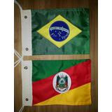 Kit Bandeira Para Moto Brasil E Rio Grande Do Sul, Bordadas