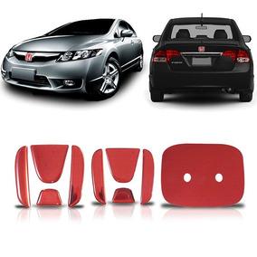 Aplique Vermelho Emblema Honda New Civic Traseiro E Frontal