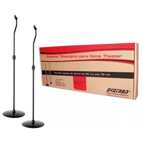 Kit Com 2 Suporte Pedestal Caixa De Som Home Theater