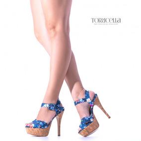 Sandália Feminina Tecido Floral Azul Torricella