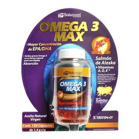 Omega 3 Max Solanum 150 Capsulas 1.4 G C/u Vitamina A D E