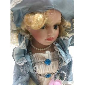Boneca Porcelana Coleção Esmeralda - 32 Cm - Cod 01