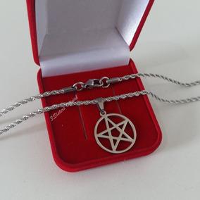 Pingente Estrela Cinco Pontas Pentagrama Wicca Aço Inox 316l