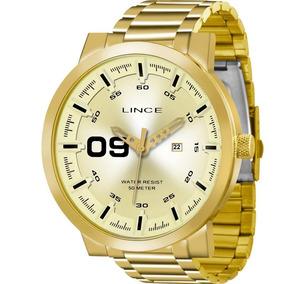 Relógio Lince Masculino Dourado Nota Original Mrgh017sc2kx