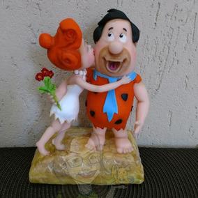 Casal Fred E Wilma Flintstones Modelado Em Porcelana Fria
