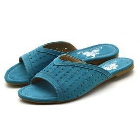 Sandália Rasteira Furada Em Camurçado Casual Verão Top