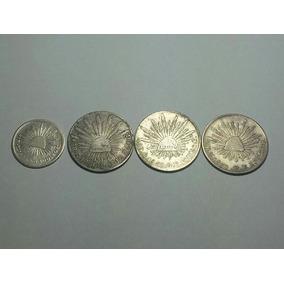 P501 México Prata - 4 Moedas 1 E 2 Reales 1846 A 1861