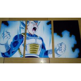Tríptico Vegeta Ssj Blue Dragon Ball (36cm X 76cm) (iii)