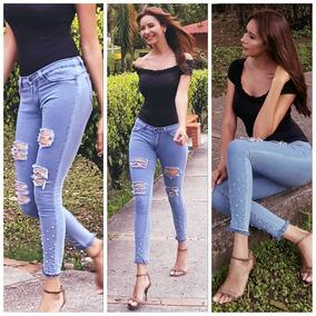Pantalones Jeans Dama Strech Rasgados Originales 8b666881ceef