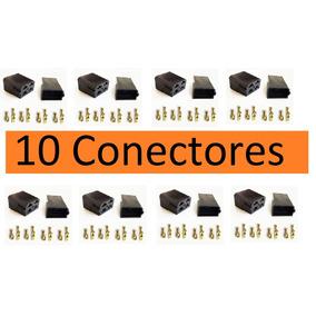 Conector 4 Vias Com Terminais Macho E Fêmea Pct Com 10