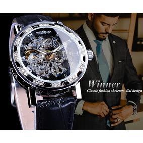 Relógio Winner Masculino Skeleton Silver Luxo Gmt10896