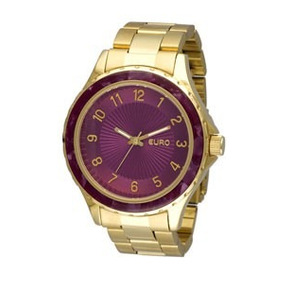 Relógio Euro Dourado Com Fundo Rosa Intenso