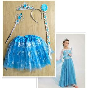 Vestido Y Accesorios Frozen Elsa Tutu Trenza Tiara Y Cetro