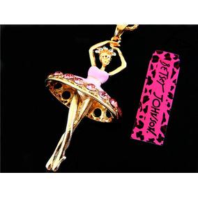 Bailarina De Ballet Cadena Dije Con Cristales Betsey Johnson