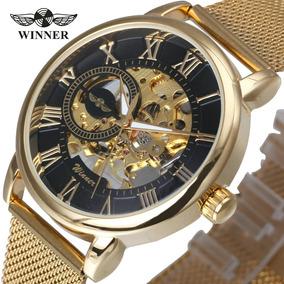 Relógio Winner Luxo Mecânico Skeleton Ultra Thin Golden 468x