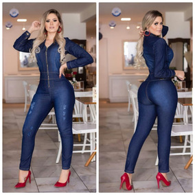 Macacão Longo Jeans Manga Longa