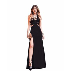 0440860b3 Vestido Longo Com Fenda E Recortes Festa