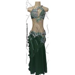 Roupa De Dança Do Ventre Completa - Luxo Verde