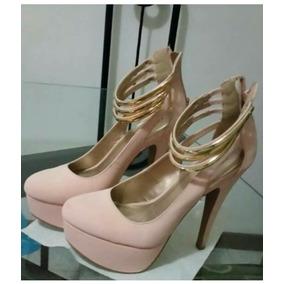 Zapato Dama Tacon Alto Plataforma Elegante Beige Trenza Oro