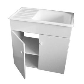 Combo Lavadero Laqueado Mueble + Pileta Mesada 75x45 Fibra